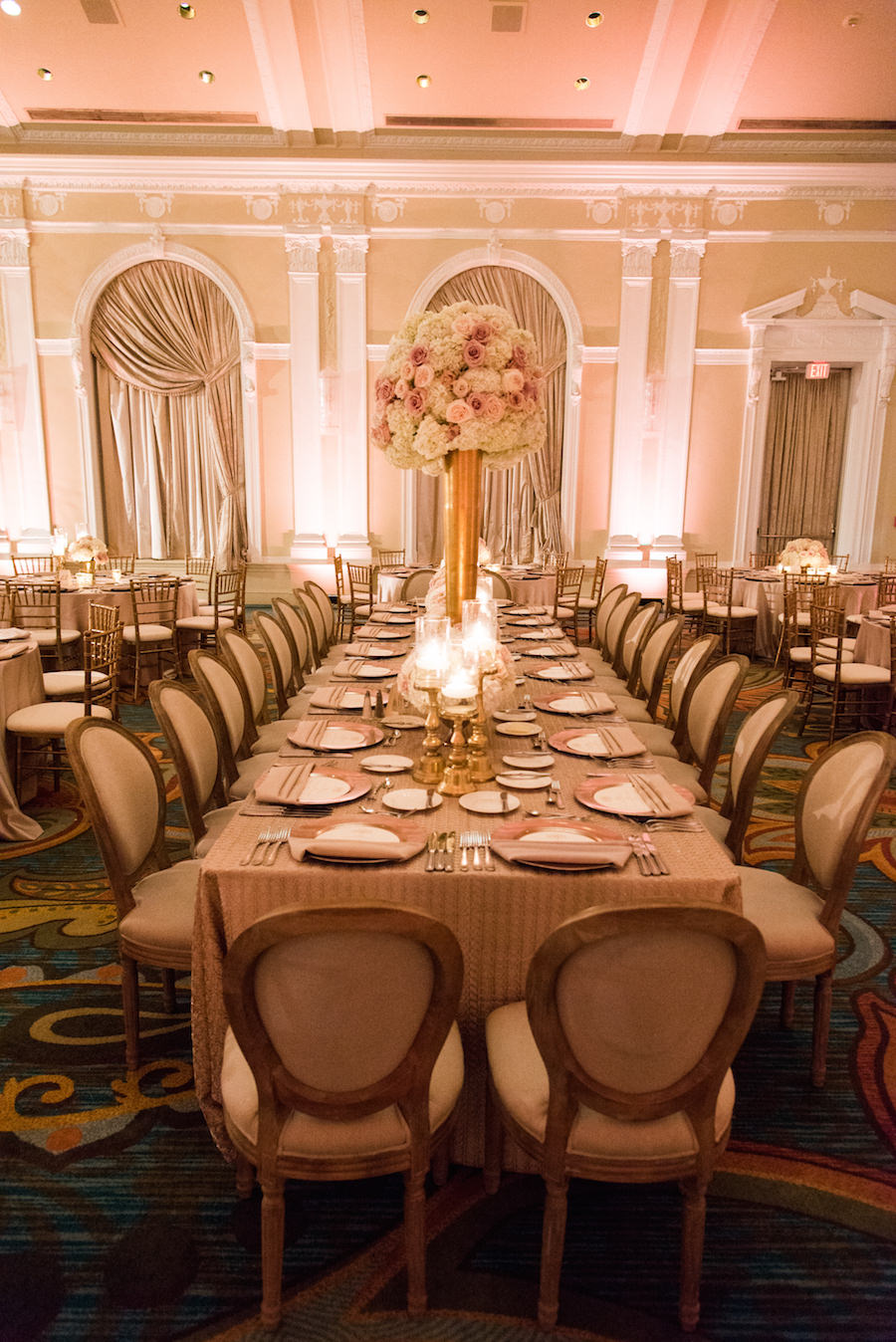 Ballroom Wedding Reception Decor with Blush and Ivory Floral Centerpieces in a Tall, Golden Vase   St. Petersburg Wedding Venue The Renaissance Vinoy Hotel