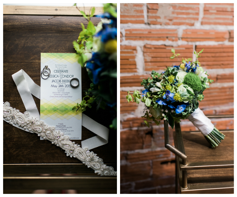Getting Ready Details: White, Blue, and Yellow Flower Wedding Bouquet and Invitation Stationary