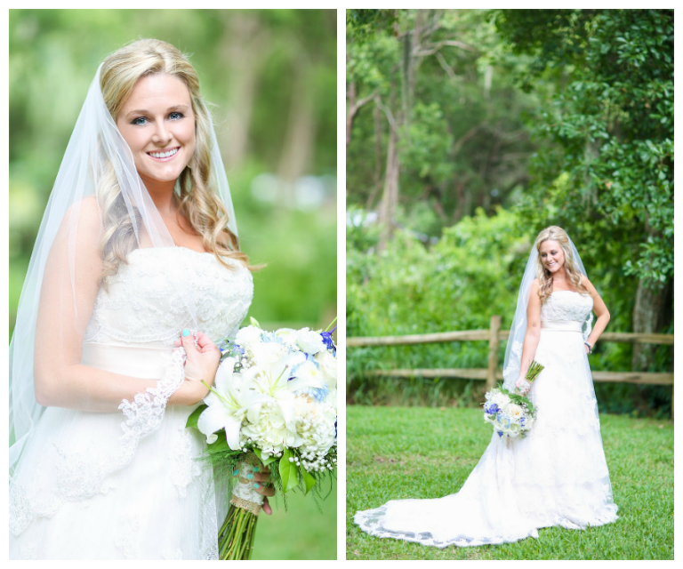 Outdoor, Bride Wedding Portrait with Ivory, Lace Wedding Dress and Blue and White Floral Bouquet