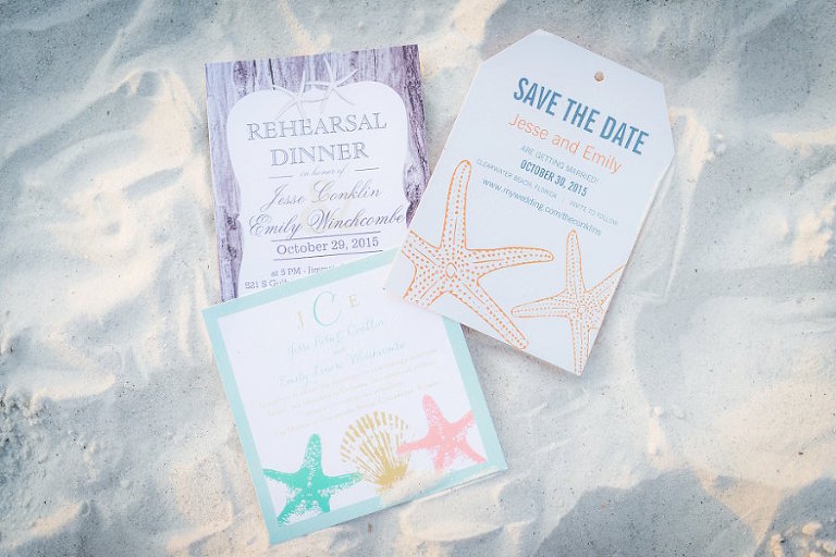 Clearwater Florida Beach Inspired Wedding Invitation and Stationery