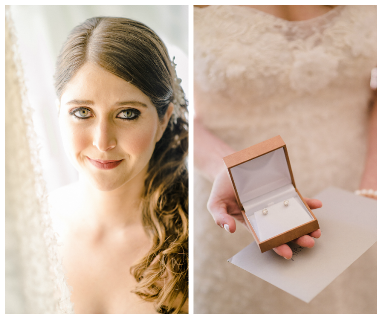 Natural Light, Bridal and Makeup Wedding Portrait and Bridal Earrings Detail