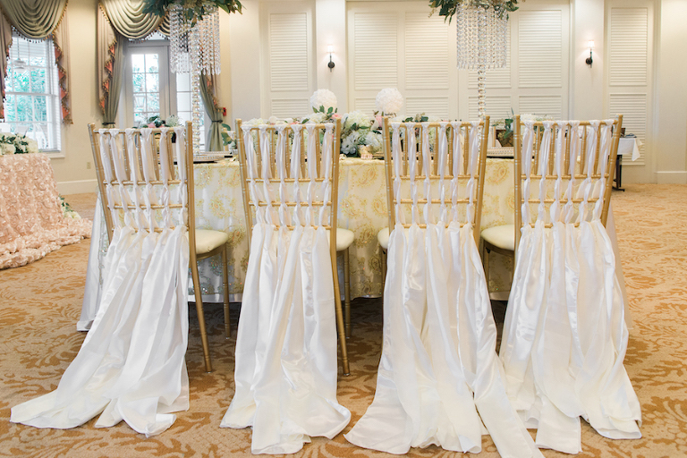 Wedding Reception Decor with Gold Chiavari Chairs and Ivory, Braided Chair Cover Linens