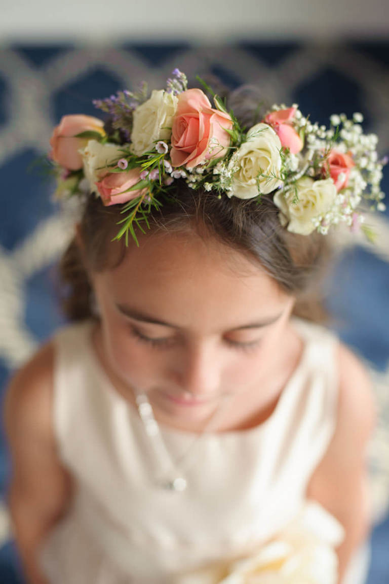 Wedding Flower Girl Flower Halo Crown with Peach and Ivory Flowers