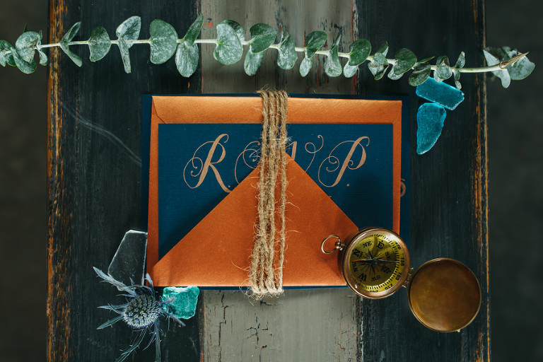 Nautical Inspired, Blue, Gold, and Orange Wedding Stationary