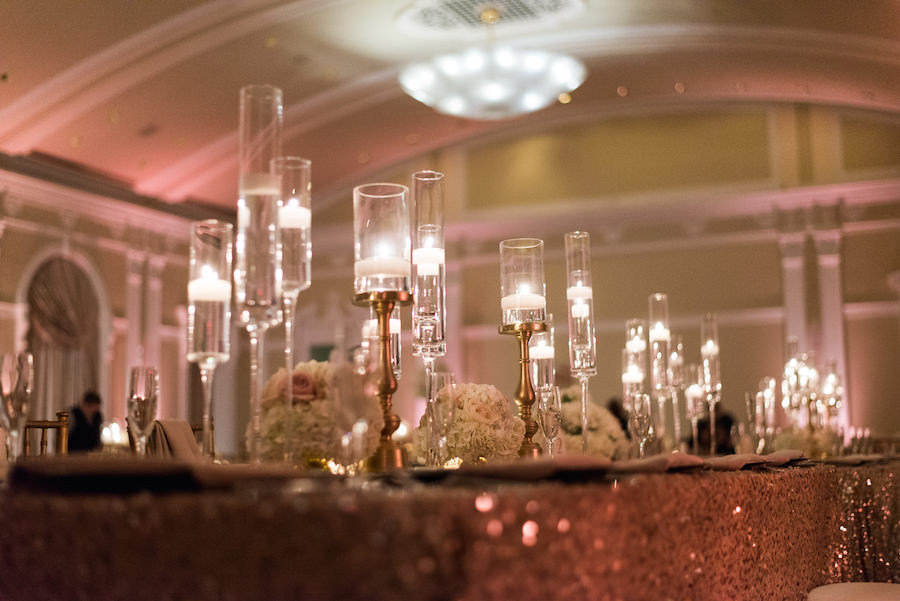 Wedding Reception Table Decor with Gold, Sequined Table Linen, Ivory and Blush Floral Centerpieces and Gold Candelabras