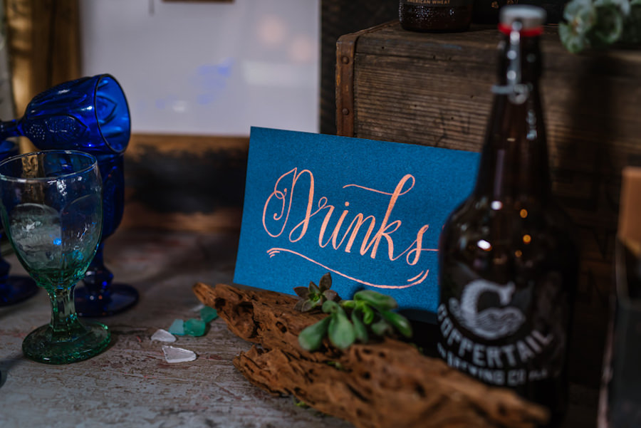 Drinks Table Card with Beer Growler and Sea Glass | Coppertail Brewing Co