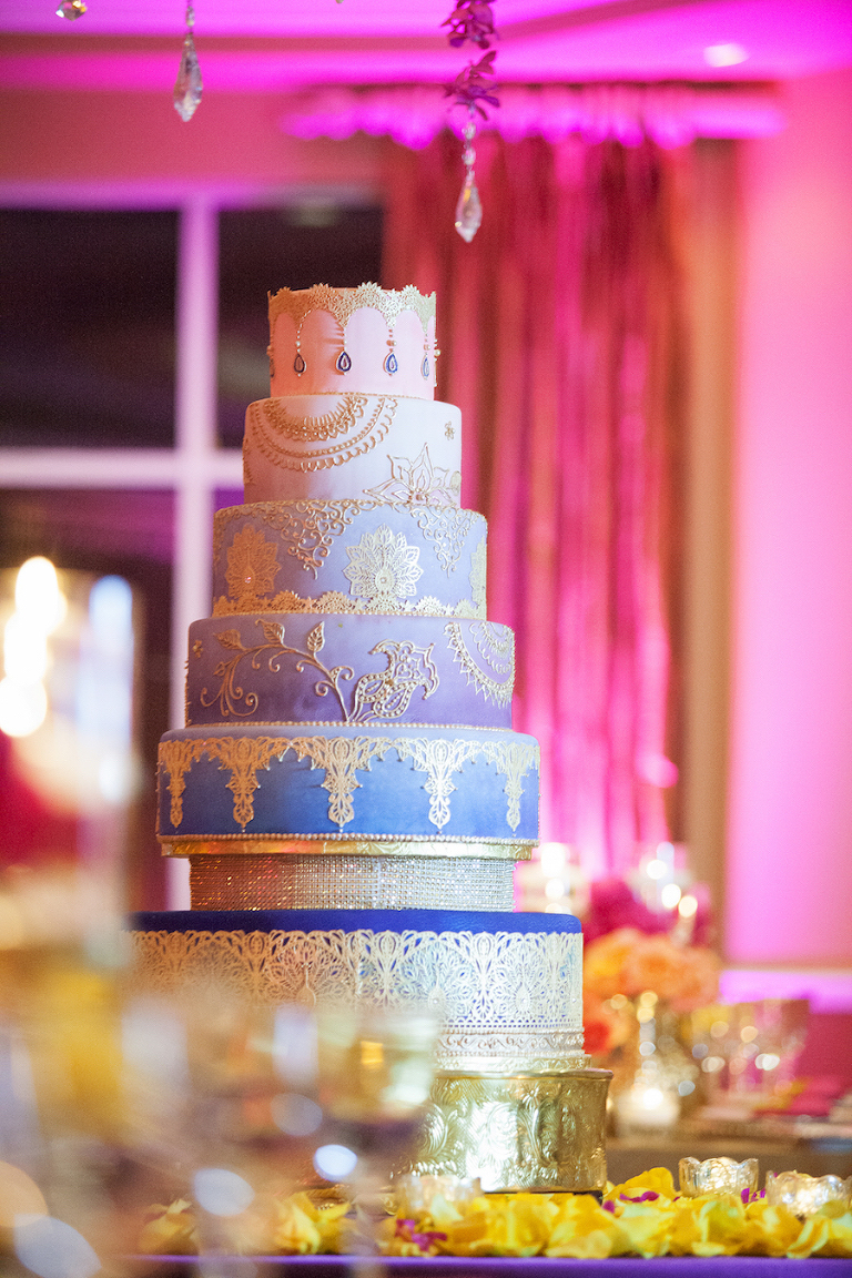 7-Tiered, Blue and Purple Ombre Indian Wedding Cake with Lace Detail Accent | St. Petersburg Wedding Cake Decorator The Artistic Whisk