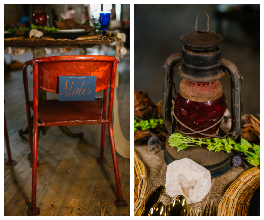 Red, Rusted Mister Groom's Chair and Antique Lantern at Industrial, Nautical Wedding