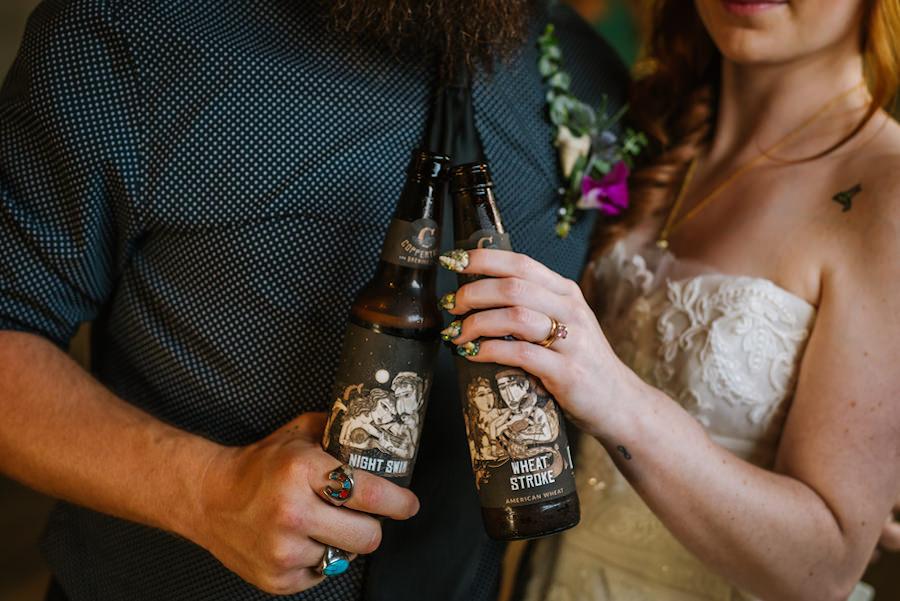 Bride and Groom Cheers Beers | Ybor Wedding Venue Coppertail Brewing Co