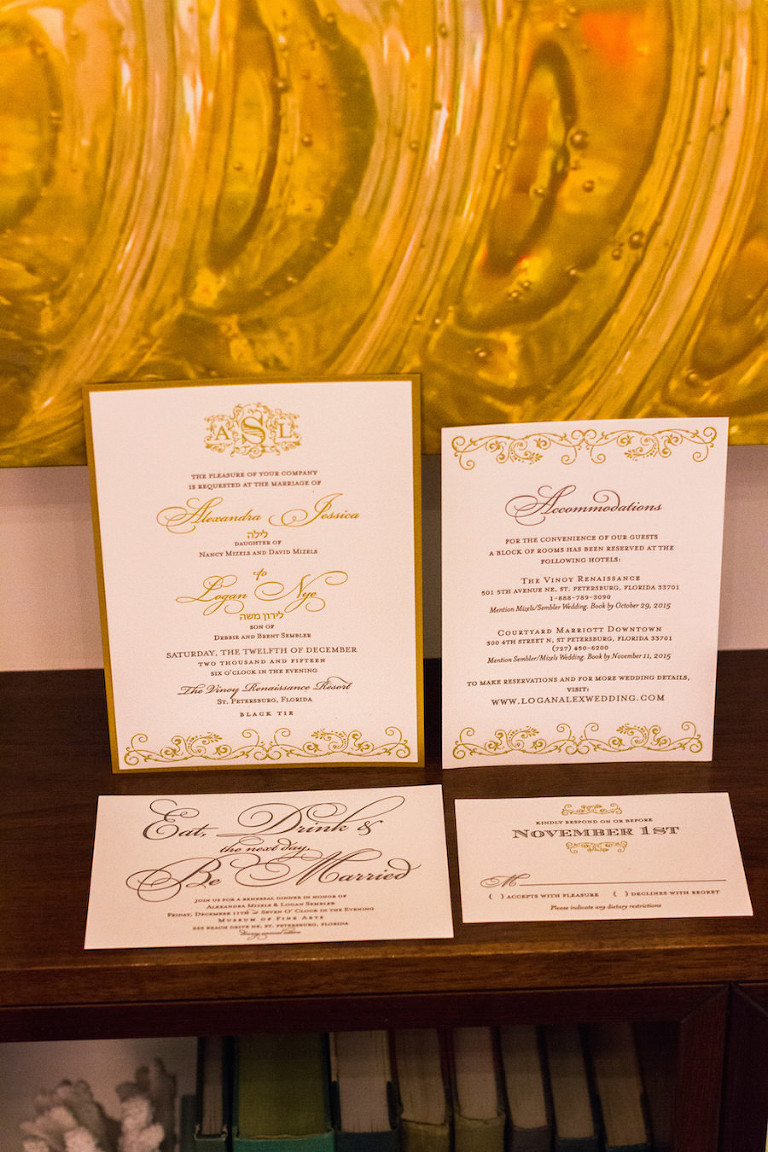 Ivory and Gold Wedding Invitation and Stationary Suite | St. Petersburg Inivtations Shop A&P Designs