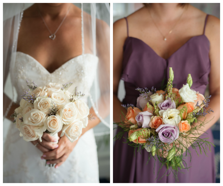 Bridal Wedding Portrait in Strapless, Ivory Beaded Wedding Dress with Ivory Bouquet of Roses and Purple Bella Bridesmaid Dress with Peach and Purple Bouquet of Flowers