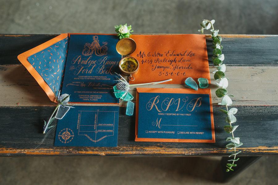 Nautical Inspired, Blue, Gold, and Orange Wedding Stationary