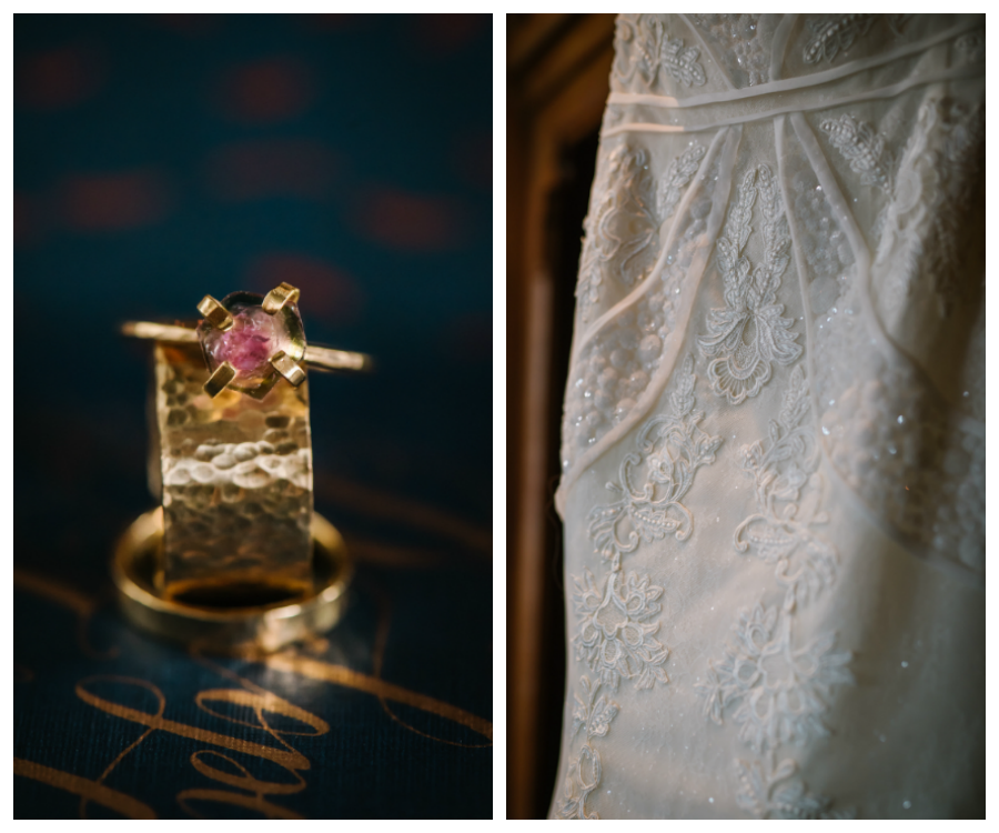 Ybor City Wedding with Gold Wedding Jewelry and White, Beaded Lace Strapless Wedding Gown