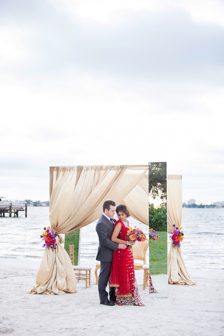 Indian Inspired, Outdoor Beach St. Petersburg Bride and Groom Wedding Portrait | St. Pete Wedding Venue Isla del Sol Yacht and Country Club | St. Petersburg Wedding Florist Iza's Flowers