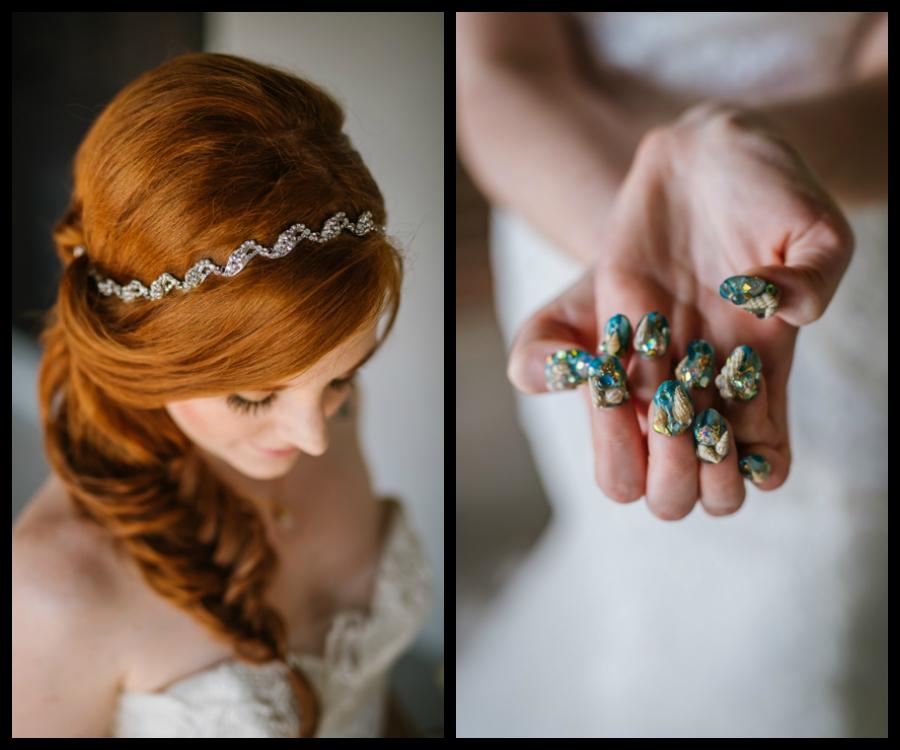 Bridal Wedding Portrait with Fishtail Braid and Crystal, Rhinestone Headband and Nautical Inspired Nails