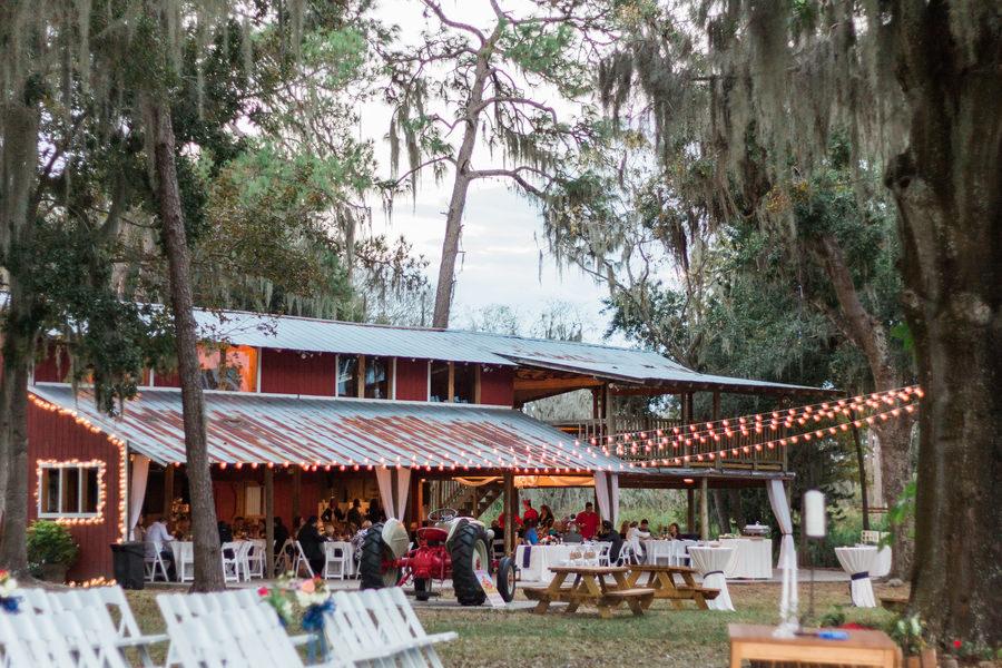 Outdoor Barn Wedding Reception   Tampa Bay Wedding Venue Old McMickey's Farm at The Barn at Crescent Lake