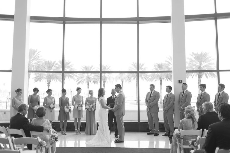 Indoor St. Pete Wedding Ceremony with Palm Tree Backdrop| St.Pete Wedding Venue The Mahaffey Theatre | Saint Petersburg Wedding Photographer Roohi Photography