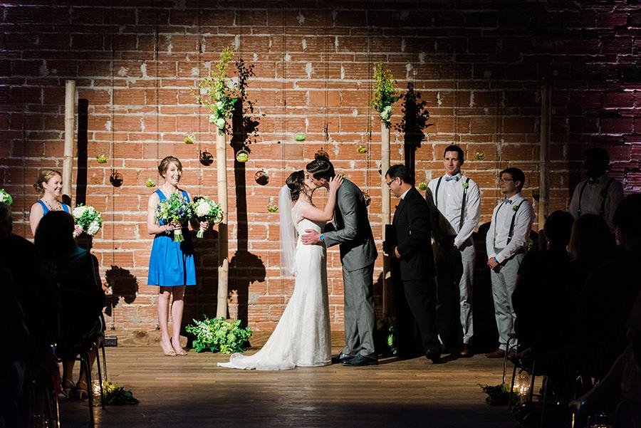 Bride and Groom, Indoor St. Petersburg Wedding Ceremony Kiss at St. Petersburg Wedding Venue NOVA 535