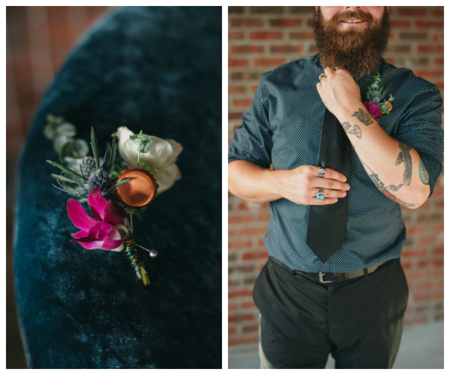 Ybor City Wedding Groom's Attire, Polka Dot Shirt and Black Tie with Pink and White Boutonniere