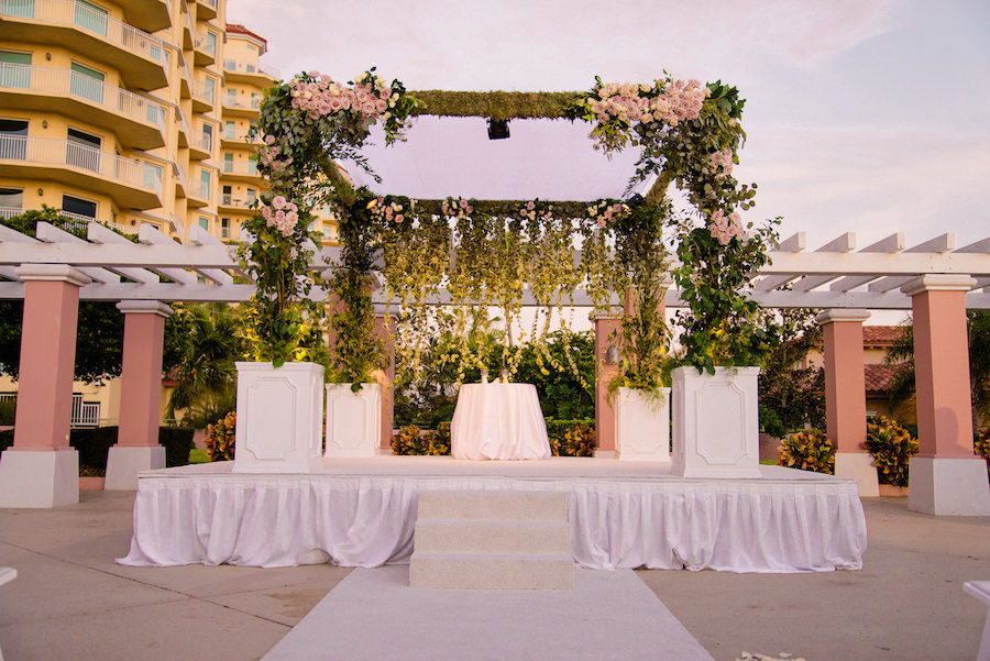 Outdoor, Wedding Ceremony Decor with Hanging Floral Garland Alter with Blush Colored Roses   St. Petersburg Wedding Venue The Renaissance Vinoy Hotel