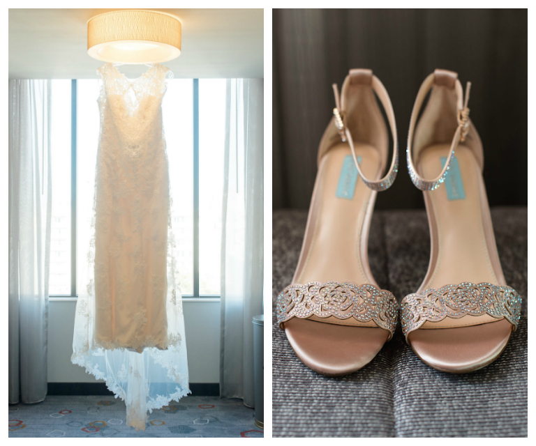 Ivory, Beaded Lace Wedding Dress and Gold, Beaded Strapped Wedding Shoes