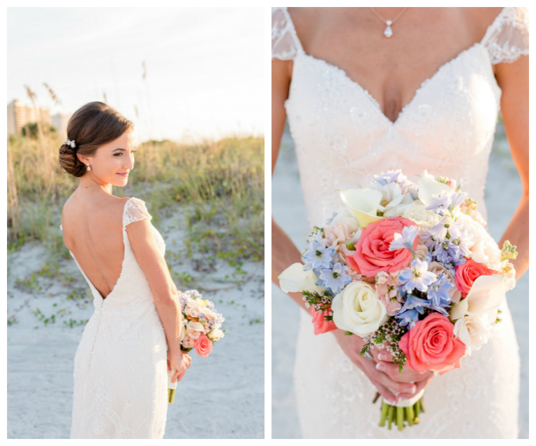 Florida Beach Bridal Wedding Day Portrait in Sweetheart Wedding Gown with White, Pink and Light Blue Wedding Bouquet | Clearwater Wedding Photographer Caroline & Evan Photography