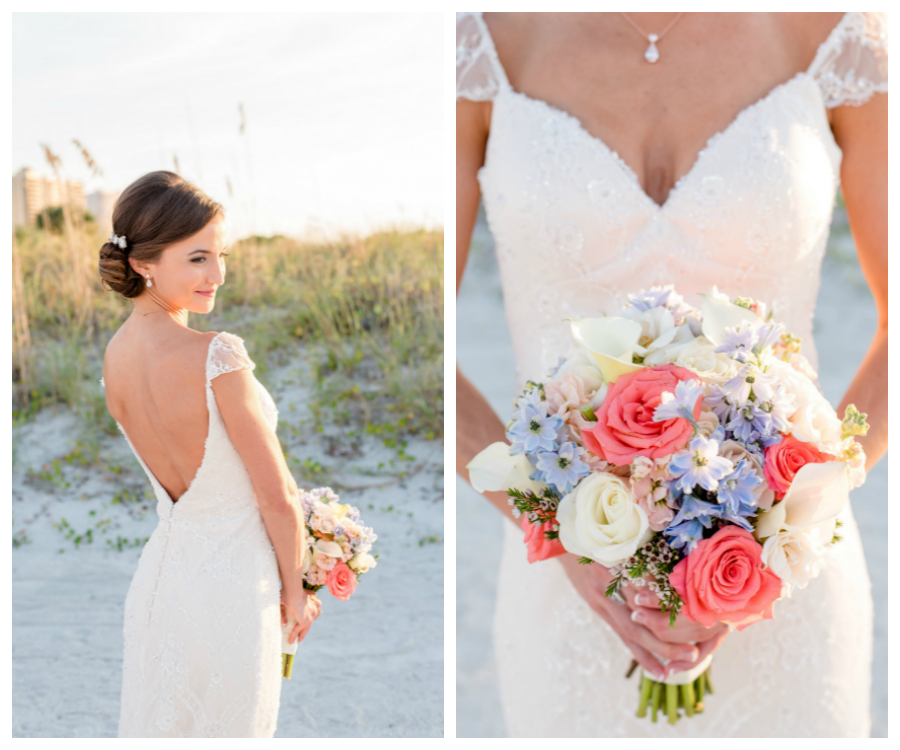 Florida Beach Bridal Wedding Day Portrait in Sweetheart Wedding Gown with White, Pink and Light Blue Wedding Bouquet   Clearwater Wedding Photographer Caroline & Evan Photography