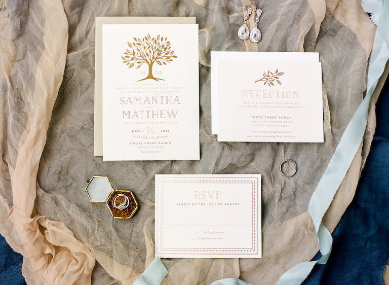 Natural, Earthy Tan and Ivory Wedding Invitation Suite with Rustic Tree Detail | Wedding Invitations from Minted