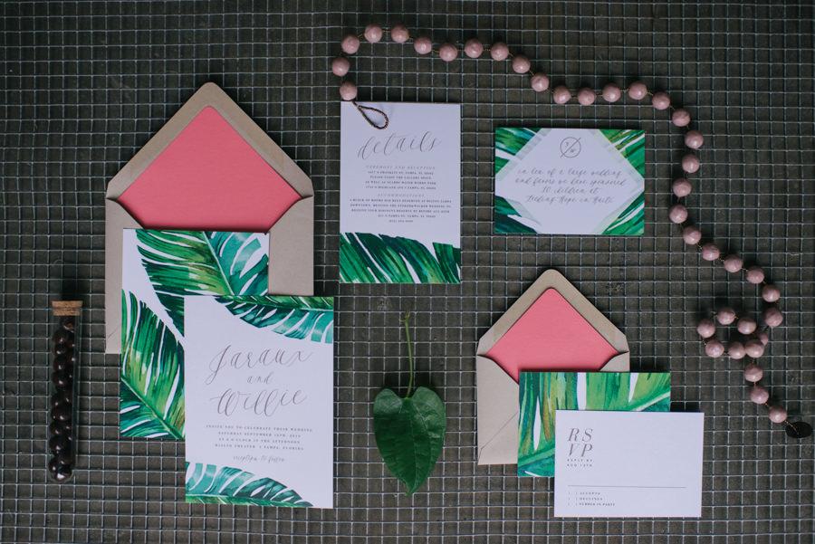 Custom Tropical Banana Leaf Invitation Suite by Tampa Wedding Invitation Designer Citrus Press Co.