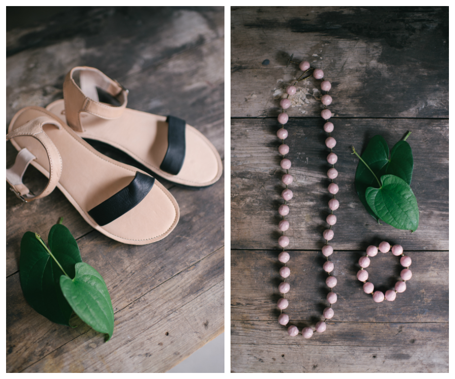 Wedding Day Details of Brides Sandals and Sustainable Jewelry