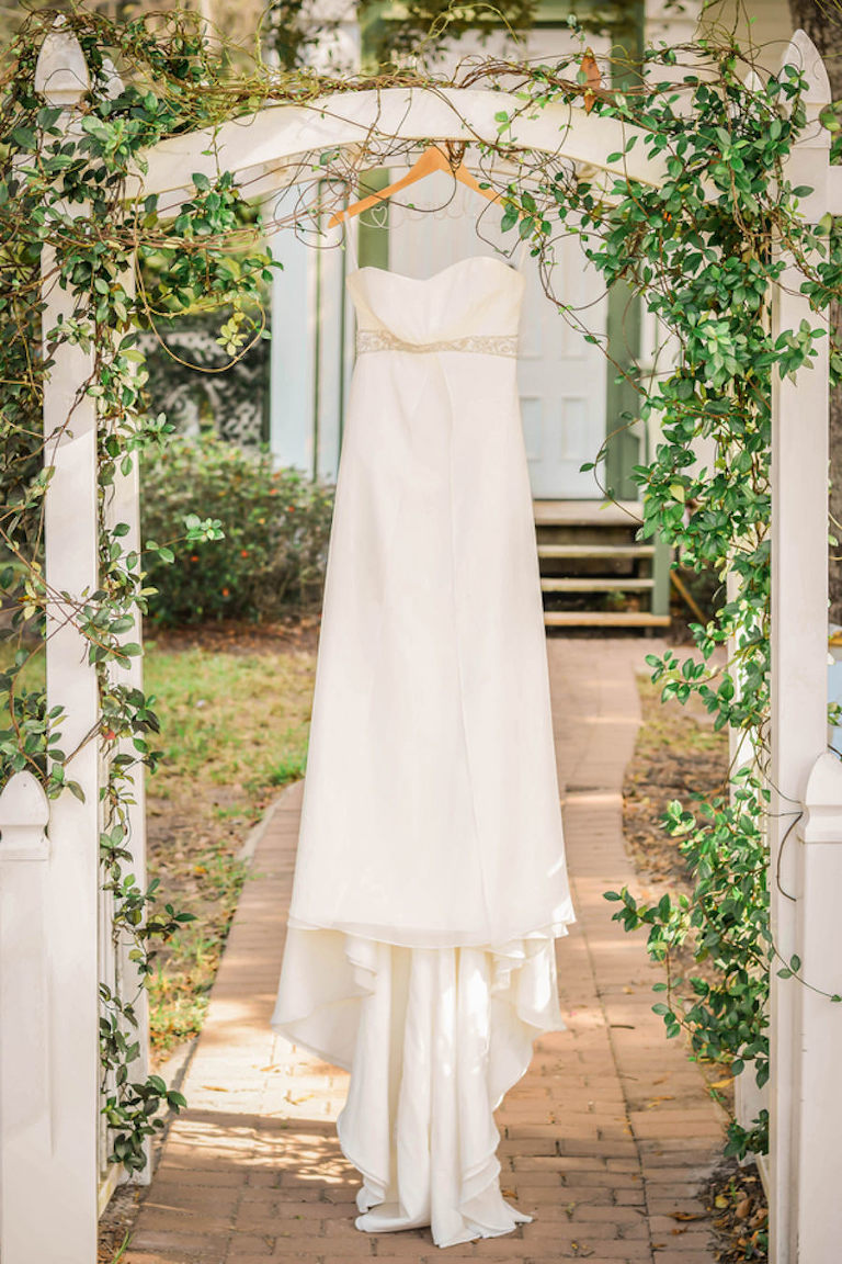 Strapless White Wedding Gown with Wire Hanger in front of Historical Tampa Bay Chapel