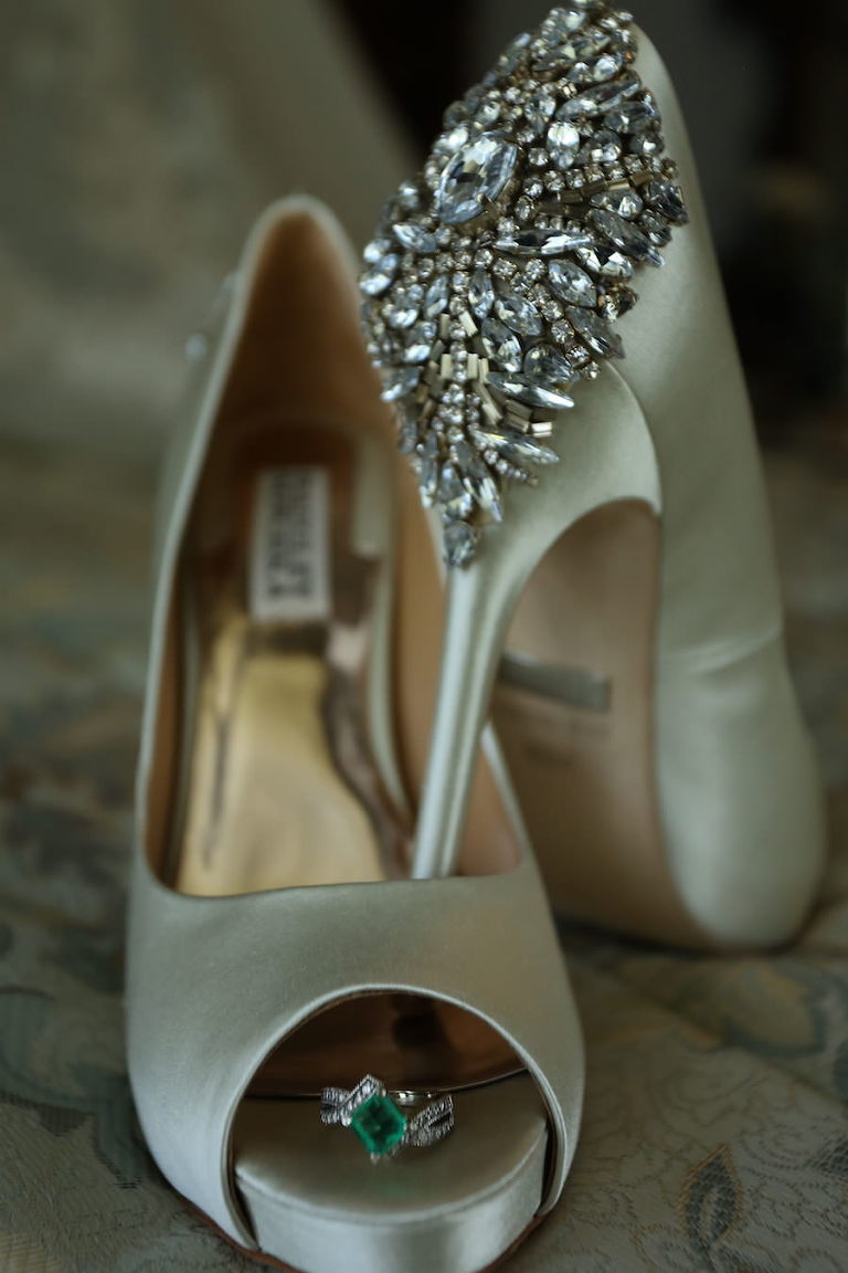 Getting Ready Portrait: Ivoery Cream, Silk Peep Toe Wedding Shoes with Rhinestone, Crystal Detail and Wedding Rings