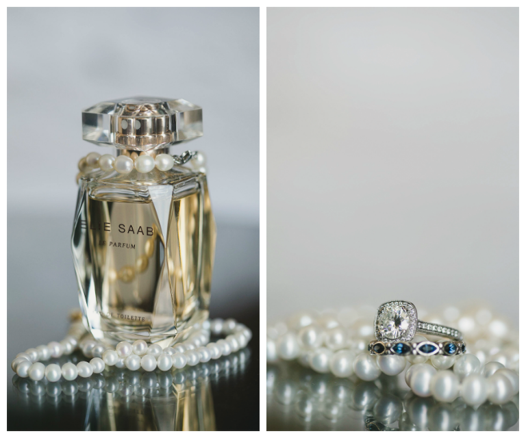Getting Ready Wedding Details, Bride's Elie Saab Perfume, Pearl Necklace, and Engagement Ring Jewelry