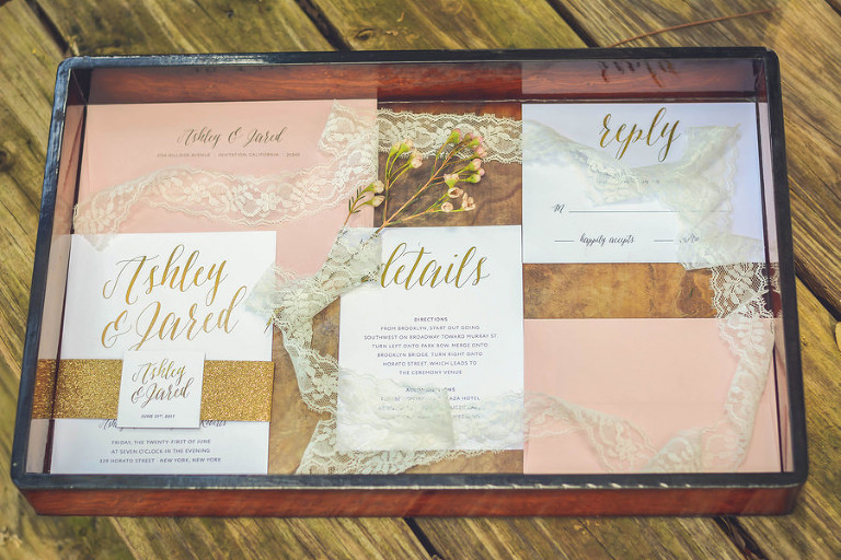 Blush, Ivory, Gold Invitation Suite Styled Photo with Lace and Floral Detail with Script Letter Accent