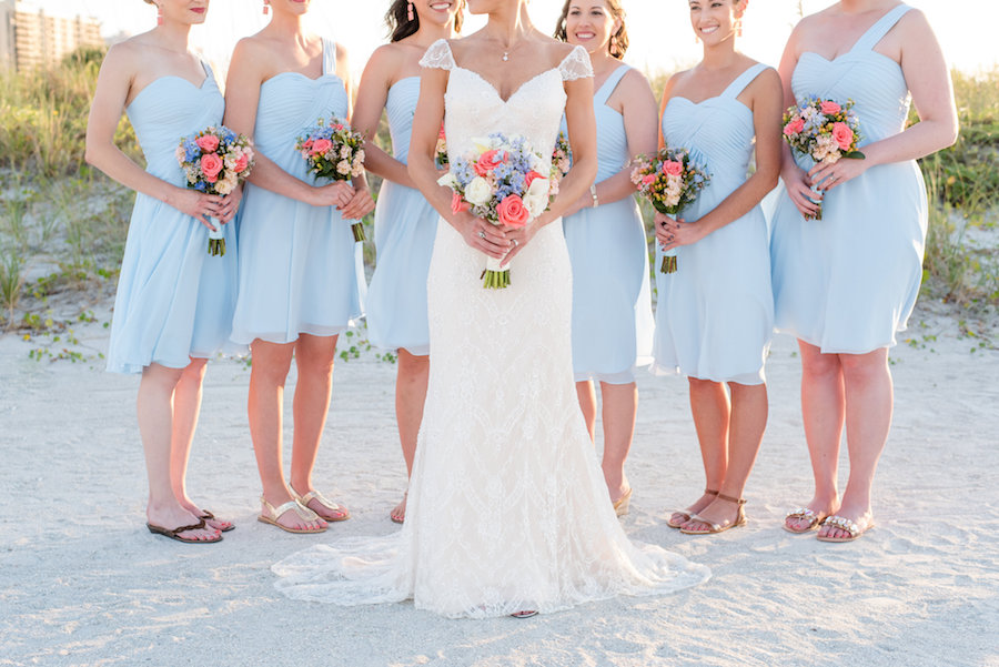 Florida Beach Bridal Wedding Day Portrait with Bridesmaids in Knee-Length Light Blue One Shoulder Dresses with Pink and Light Blue Wedding Bouquets   Clearwater Wedding Photographer Caroline & Evan Photography
