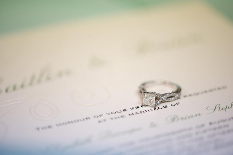 Wedding Day Program Detail with Wedding, Engagement Ring   St. Pete Wedding Photographer Andi Diamond Photography