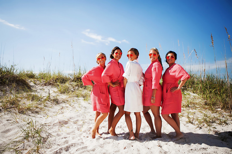 Clearwater Beach, Bride and Bridesmaid Portrait in Pink and White Robes and Sunglasses
