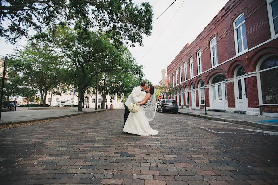 Outdoor, Ybor City Bride and Groom Wedding Portrait on Brick Road | Tampa Wedding Photographer Roohi Photography