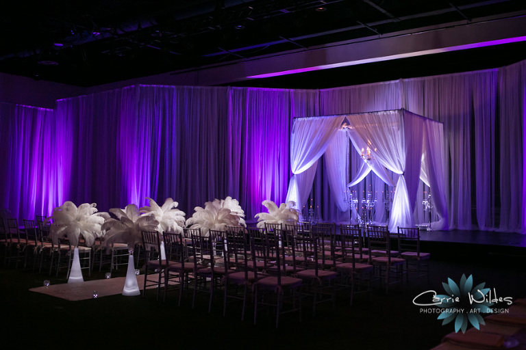 Purple Uplighting and Draping with PinSpots for Tampa Wedding Reception at A La Carte Shrine Pavilion from Gabro Events | Photo Carrie Wildes Photography