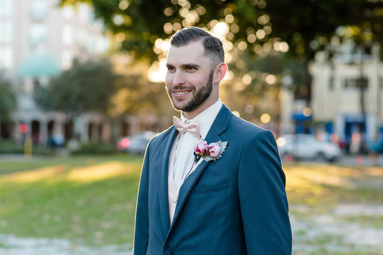 Outdoor, St. Pete Groom Wedding Portrait in Grey Suit and Pink Bowtie | St. Petersburg Wedding Photographer Caroline & Evan Photography