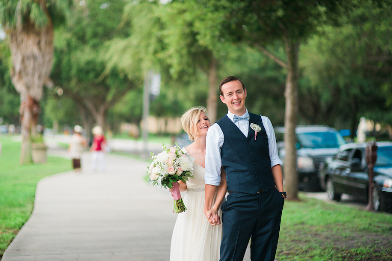 Outdoor, St Petersburg Bride and Groom First Look Wedding Portrait in North Straub Park | Kera Photography