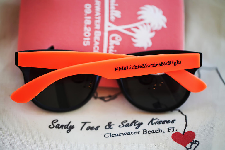 Clearwater Beach Bride and Groom Wedding Sunglasses and Koozie for Wedding Guests
