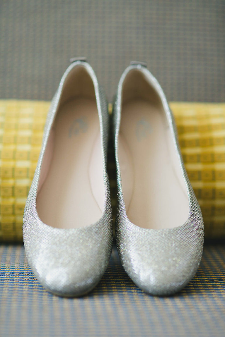 Wedding, Silver Bridal Shoes/Flats