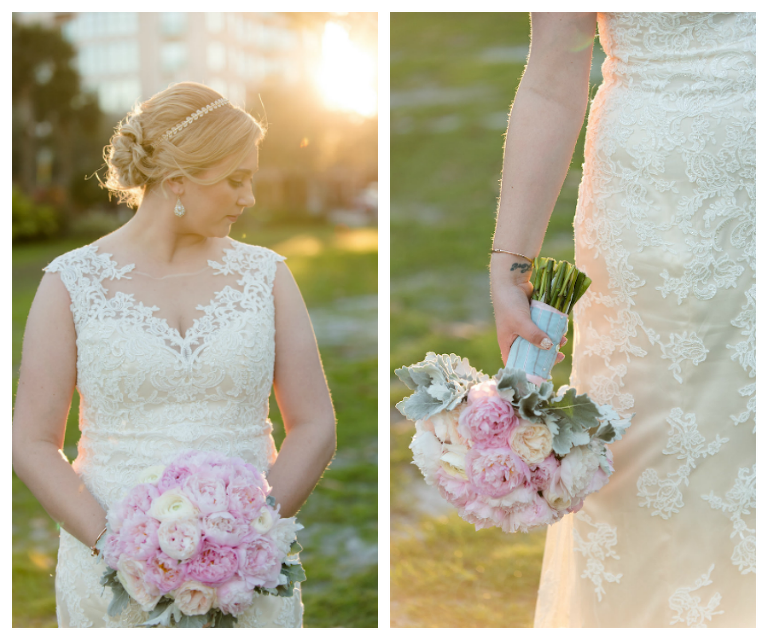 Outdoor Bridal Wedding Portrait in Ivory, Beaded Lace Wedding Dress with Pink and White Floral Bridal Bouquet | St. Petersburg Wedding Photographer Caroline & Evan Photography | Hair and Makeup by Michele Renee The Studio