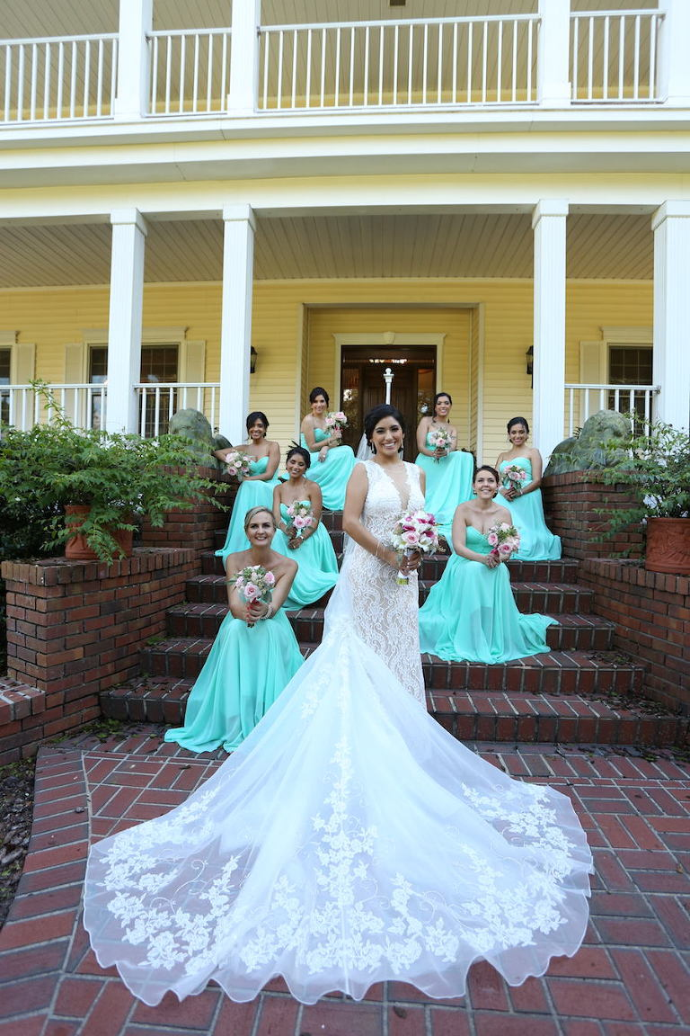 Florida Bride and Bridesmaids, Outdoor Wedding Portraits in Lace Wedding Dress with Long Train and Mint Green Bridesmaids Dresses