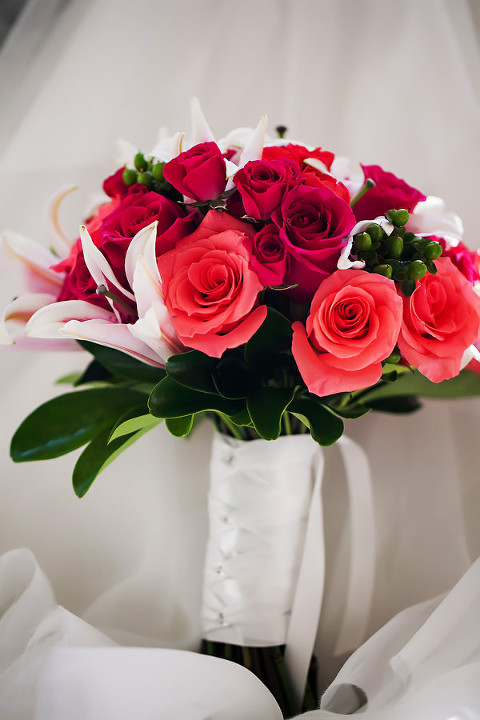 Bridal Wedding Bouquet of Coral and Pink Roses | Clearwater Beach Wedding Florist Iza's Flowers