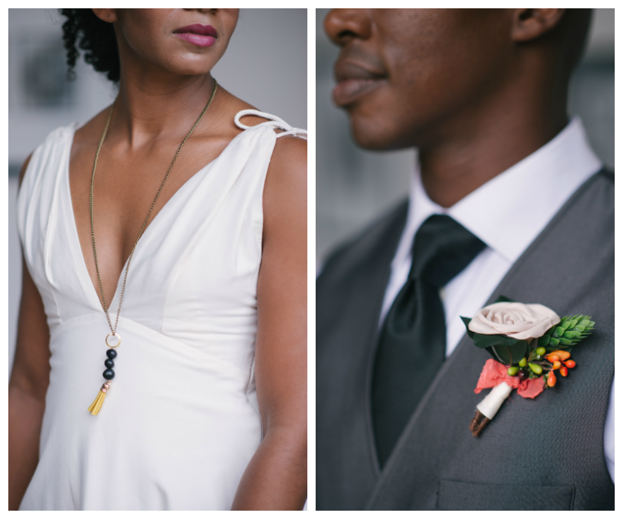 Bridal Wedding Day Portrait in V-Neck Wedding Gown | Groom in Grey Vest on Wedding Day with Boutonnière