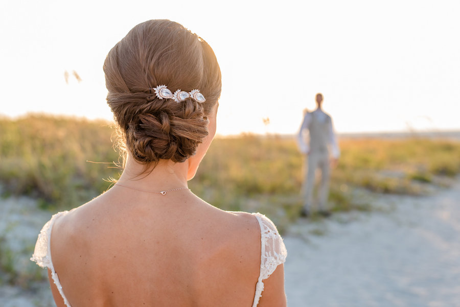 Wedding Day Portriat at Sunset on Beach  Bridal Hair Style Updo with Jewerly Accent   Clearwater Wedding Photographer Caroline and Evan Photography