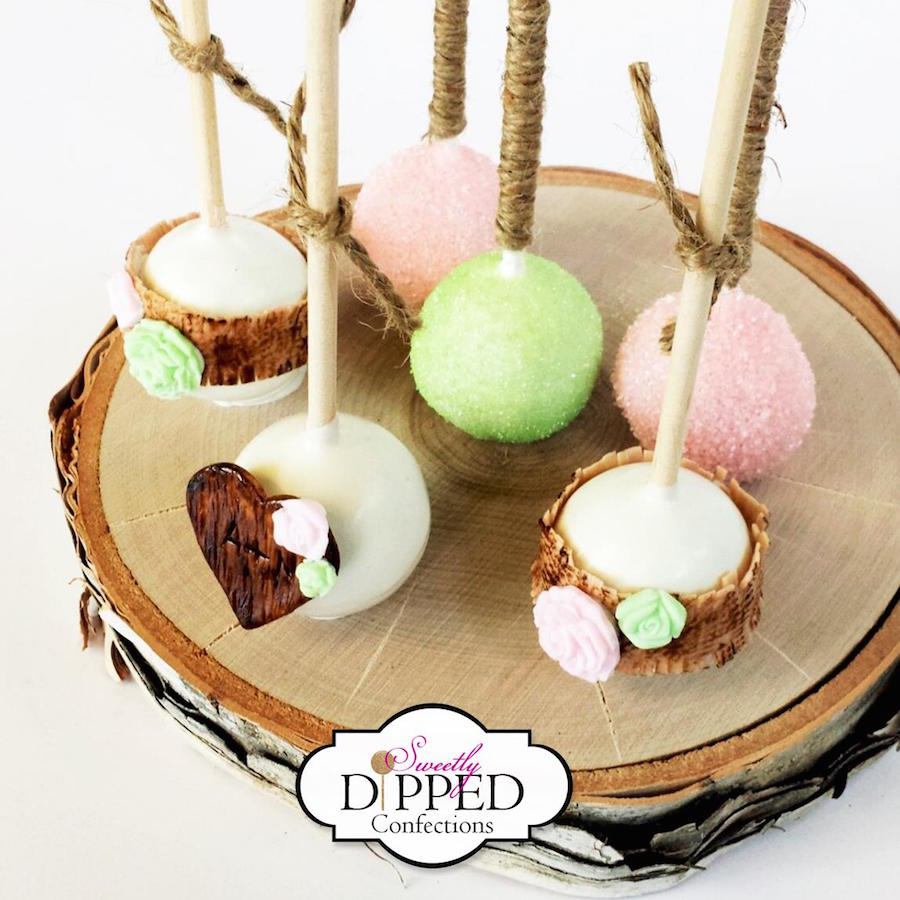 Rustic Pink Mint And Ivory Cake Pops