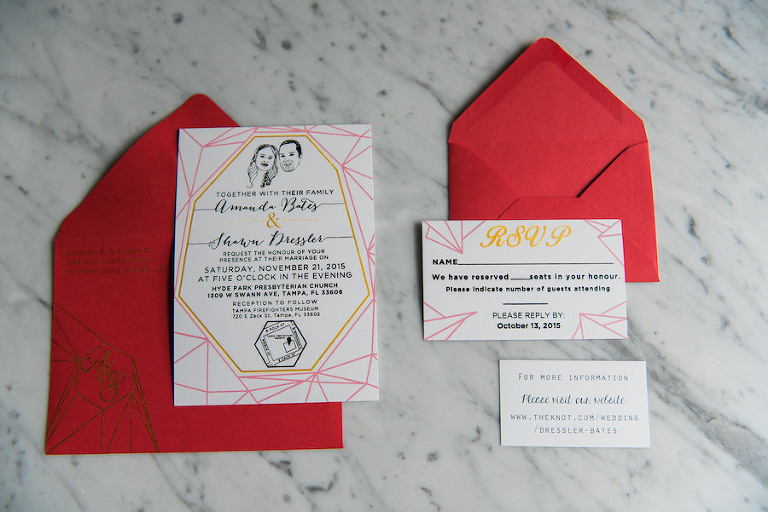 Caricature Drawing Pink, Yellow and Red Wedding Invitation and Suite